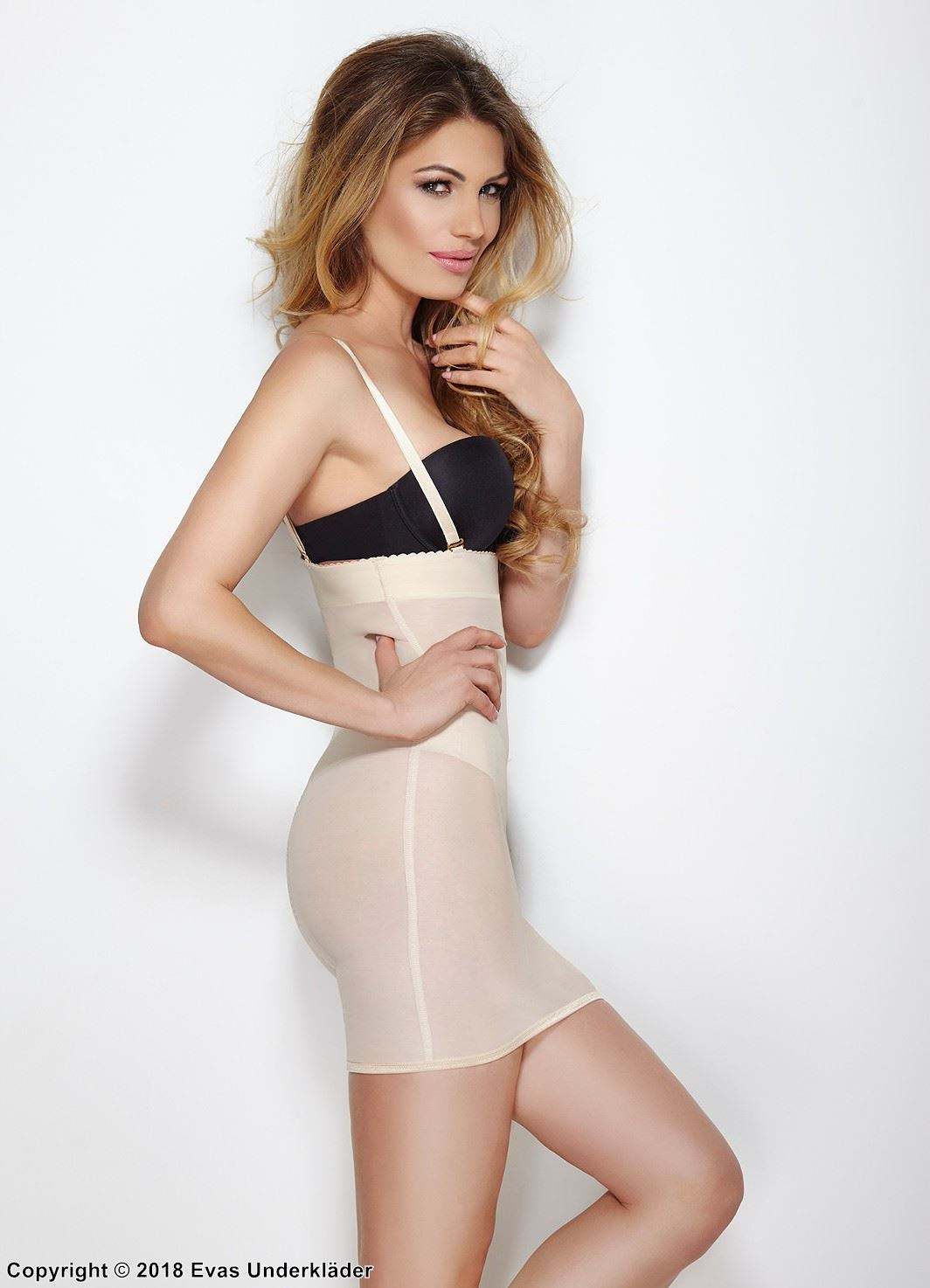 Shapewear open-bust slip, belly, waist and hips control